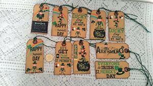 10~St Patrick's Day~Ireland~Shamrock~Celtic~Linen Cardstock~Gift~Hang~Tags