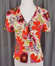TRINA TURK~Sz S~Ruffle Front~Bat Wing~Button Down~Multi Color~Floral~Blouse~Top