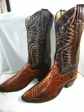 Rare!! Vintage JUSTIN Python Snake Cowboy Boots USA - (8 D Men) (9.5 Women)