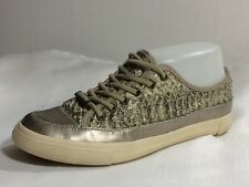DKNY Silver Green Snake Leather Womens 6 Medium Fashion Sneakers Casual Shoes