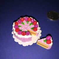 DOLLHOUSE Mini Food **PURPLE +RED ROSE ICED CAKE 8 x SLICES** BARBIE PARTY