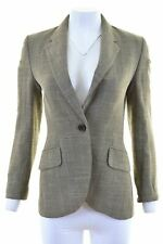 JAEGER Womens 1 Button Blazer Jacket UK 8 Small Brown Wool  J207