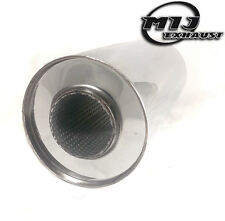 14 Long Universal Resonator With Inlet Extensions 2.5-64mm Exhaust Stainless Steel Silencer Box 4 Round