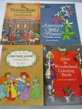 Vintage coloring book Lot Victorian Parlor Mother Goose Alice Wonderland 1970s