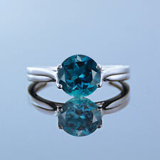 3/4CT ROUND CUT BLUE TOPAZ 14K WHITE GOLD OVER WOMEN'S ENGAGEMENT SOLITAIRE RING