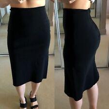 DION LEE black layered stretch-crepe pencil skirt AU 6