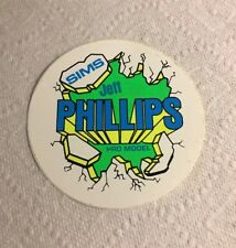 Vintage skateboard sticker sims Jeff Phillips NOS green BBC deck solid 1 skate