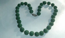 VINTAGE OLD GREEN CELLULOID ROSE FLOWER BEAD STRAND COLLAR NECKLACE IN GIFT BOX