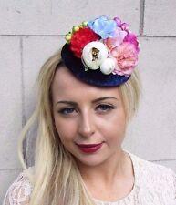 Navy Blue Pink Cream Rose Flower Fascinator Pillbox Hat Races Hair Clip Vtg  3767 a0fc62ad5497