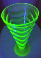 Vintage Thomas Webb Uranium Art Glass Vase Ripple Ribbed