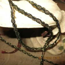 Vgt Twisted Soutache Flat Braid Black Gold Metallic Trim Miniature 2Yds #Tk