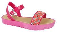 Ladies Women Flats Platform Ankle Diamante Strap Summer Jelly Sandals Shoes Size