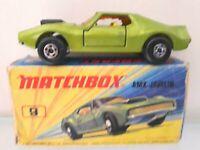 Matchbox Superfast No.9 AMX JAVELIN  orange glass & ivory interior 1972 BOXED