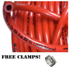 """Red Gas Line 5/16"""" 10ft Co2 Tubing Hose, Free Clamps, Kegerator Draft Beer Brew"""