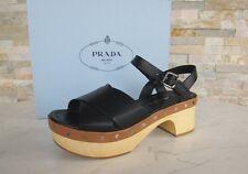 PRADA Gr 37,5 Holz Plateau Sandaletten Sandalen Schuhe Clogs schwarz NEU UVP530€