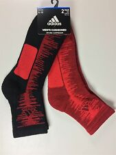 Adidas High Quarter 2 Pack Fully Cushioned Compression Socks Red/Black Size 6-12