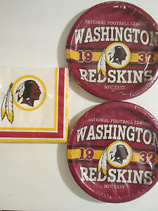 WASHINGTON REDSKINS -NFL FOOTBALL EST. Party Supplies w/ Plates & Napkins NEW !