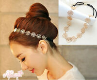 Lovely Womens Girls Metallic Lady Hollow Rose Flower Elastic Hair Band Headband