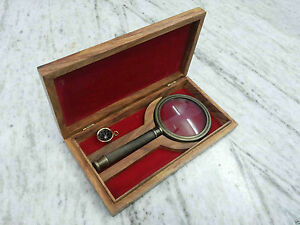 Antique Brass Magnifier With Wooden Box Vintage Collectible