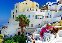 "OIA SANTORINI IN GREECE NEW A4 CANVAS GICLEE ART PRINT POSTER 11.7""x8.3"""
