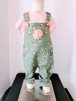 LITTLE LASS GIRLS GEEN FLORAL PANTS OVERALL 2PC SET SIZE 4T MSRP $40