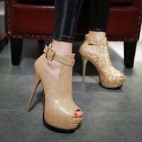 Womens Sexy Shiny Zip High Heels Peep Toe Platform Pumps Shoes UK Size 1-8 C264