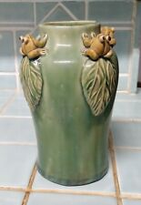Art Pottery Vase with Four Green Frogs on Rim