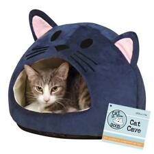 Cat is Good Cat Cave Bed - Blue with pink - Plush Hideway Cat Bed