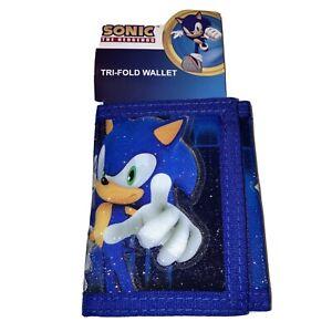 Sega Sonic The Hedgehog Tri-fold Wallet Blue, Zipper Pocket, Hook Loop New