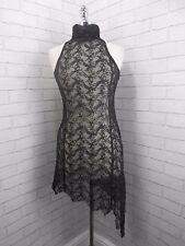 Ladies Black Italian Lace High Neck Body Con Sexy Dress Steampunk Goth 10/12