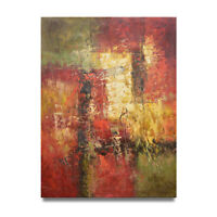 NY Art - Red & Green Palette Knife Abstract 36x48 Oil Painting on Canvas - Sale!