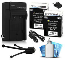 2x PhotoMate EN-EL20 EL20 1600mAh Battery + Rapid Car & Home Charger for Nikon