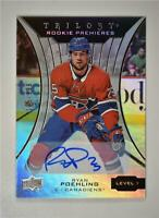2019-20 UD Trilogy Silver Foil Auto Tier 1 #62 Ryan Poehling /399 - Canadiens