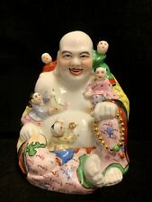 Chinese Famille Rose Porcelain Buddha Statue With Five Kids Claiming