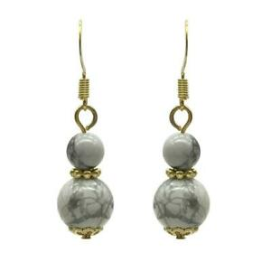 6-10mm Natural Round Howlite Gold Plated Drop Earrings
