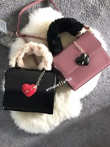Women Love Heart Arrow Faux Leather Bag Tote Crossbody Fur Handel Shoulder Strap