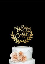 Cake Topper for Wedding with Personalized Surname Rustic Style