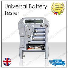 Universal Battery Tester gauge per AA AAA C D 9v pp3 + Cellula Pulsante Batterie LCD