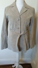 New York And Company Leather Suede Beige Tie Jacket Coat Size M 12 14