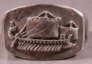 Ancient Roman Military Legionary Silver Ring Legion X Fretensis Naval Warship