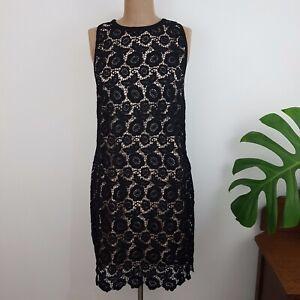 City Chic Dress SZ M Black Lace Nude Lining Sleeveless Zip Back Closure BNWT