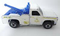 Vintage 1974 Hot Wheels Redline Larry's 24 Hr White Tow Truck Ramblin Wrecker