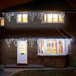 Gresonic 200 LED Bright White Icicle String Light Outdoor Use EU Plug
