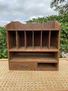 Vintage Wood Wooden Shelf Slots MaIl Hanging Wall Holder Knickknacks Storage