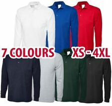Mens & Womens Long Sleeve POLO SHIRT Plain Top Casual Work Smart Full Sleeve 113