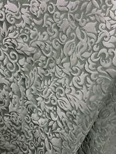 Slate Gray White Floral Brocade Upholstery Drapery Fabric (54 in.) Sold Bty