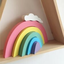 Wooden Rainbow Stacking Blocks Fun Building Nesting Toys Gift for Baby Toddler