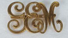 Vintage Gold Tone G E M Initial Monogram Brooch Pin Swirled Script