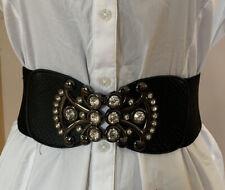 Women Black Fashion Stretch Hip High Waist Belt Silver Metal Design Buckle S M
