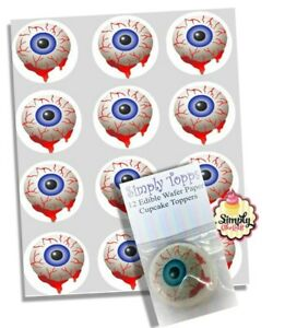 Cupcake Toppers Halloween Blood Eye Pre-cut Wafer Edible Decoration 40mm x 12